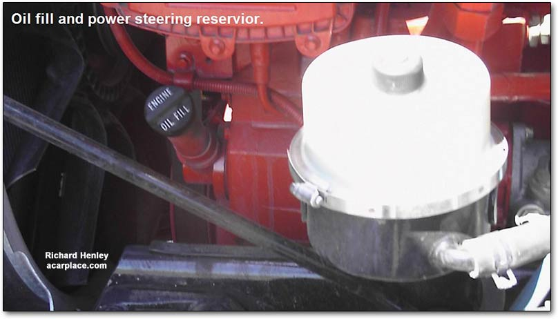 Peterbilt oil filler and power steering reservoir