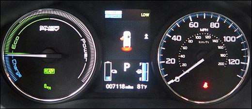 Mitsubishi PHEV hybrid gauges